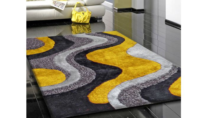 Yellow and Grey Shag Rug Design 29