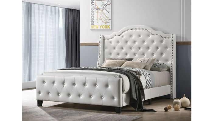 Hadley White Leather Bed Button Tufted