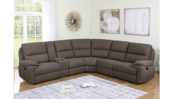Hankins Suede Fabric Sectional Recliner