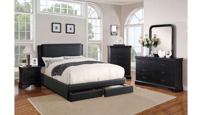 Harbor Leather Platform Bed With Storage