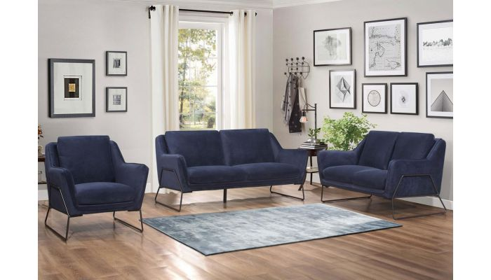 Awesome Hayden Navy Velvet Modern Sofa Creativecarmelina Interior Chair Design Creativecarmelinacom