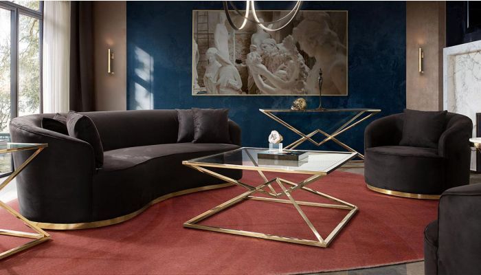 Helena Black and Gold Modern Living Room