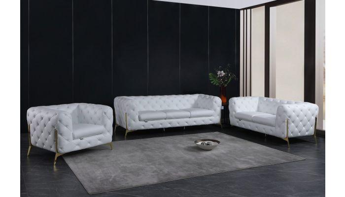 Hendrix White Italian Leather Sofa Set