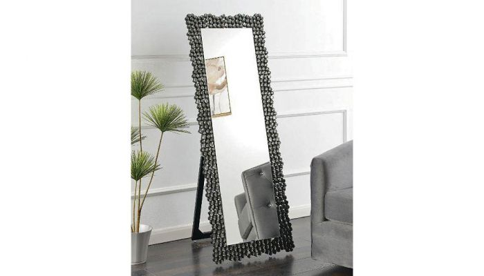 Heston Smocked Grey Floor Mirror