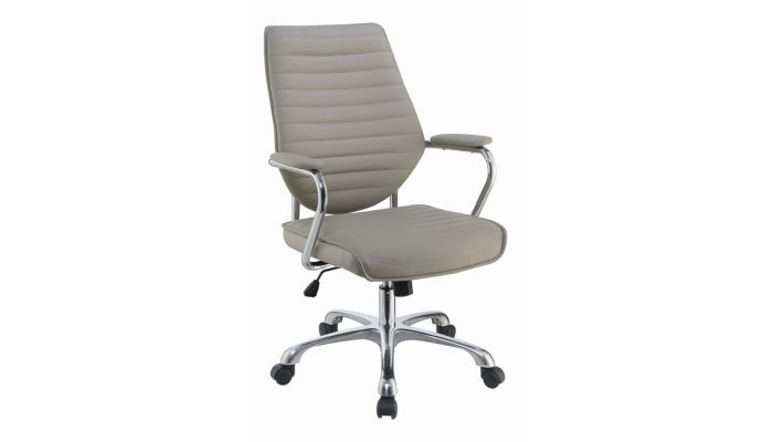 Hilda Taupe Leather Office Chair