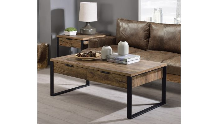 Hiram Rustic Finish Coffee Table With Drawers