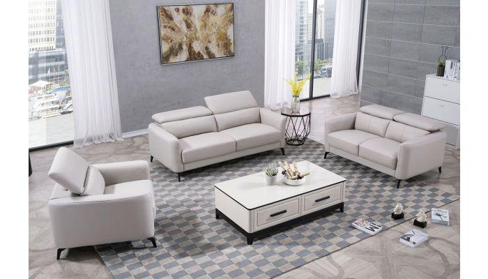 Holborn Light Grey Leather Sofa Set