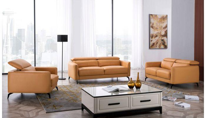 Holborn Yellow Leather Modern Sofa Set