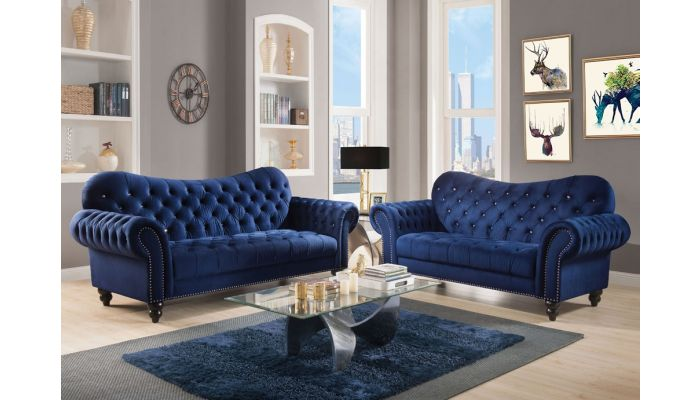 Holder Navy Blue Chesterfield Sofa