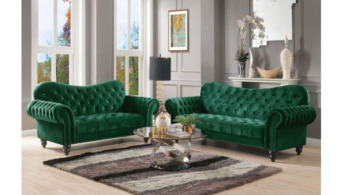 Holder Chesterfield Sofa Green Velvet