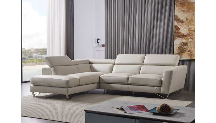 Hollywood Light Grey Leather Sectional