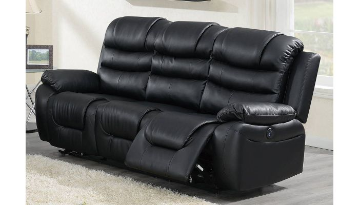 Horace Power Recliner Sofa Black Leatherette