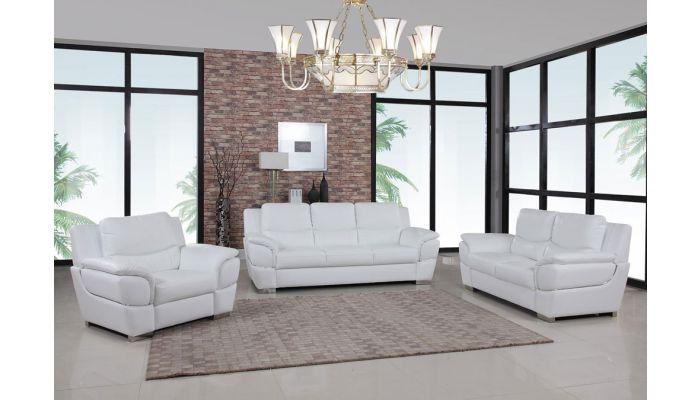Huron White Leather Modern Sofa