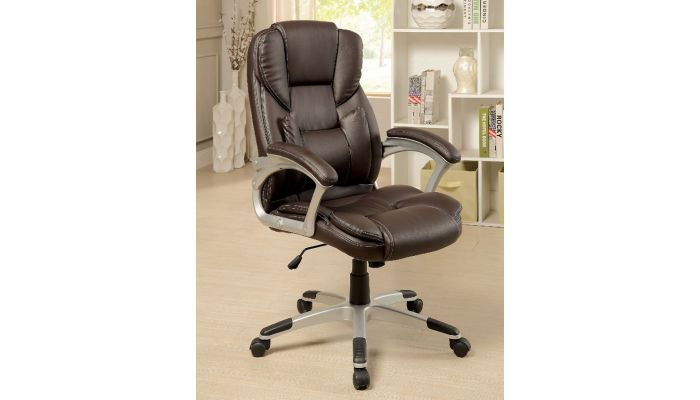 Huxly Brown Leather Office Chair