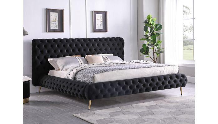 Impulse Black Velvet Platform Bed