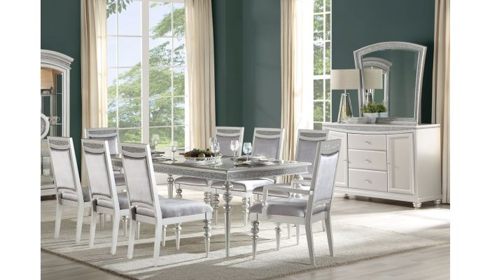 Groovy Italo Dining Room Table Set Platinum Finish Home Interior And Landscaping Ponolsignezvosmurscom
