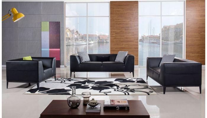 Izzy Modern Black Leather Sofa