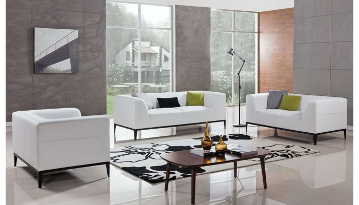 Izzy White Leather Modern Sofa