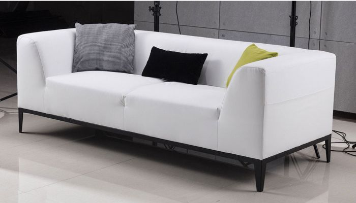 Awesome Izzy White Leather Modern Sofa Ocoug Best Dining Table And Chair Ideas Images Ocougorg
