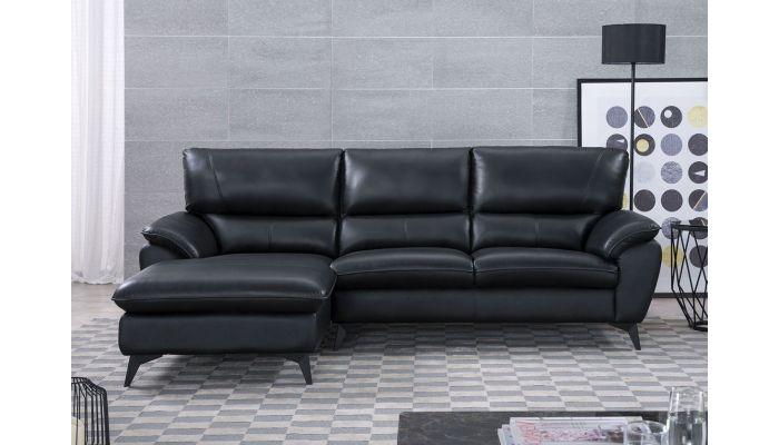 Jacky Black Leather Modern Sectional