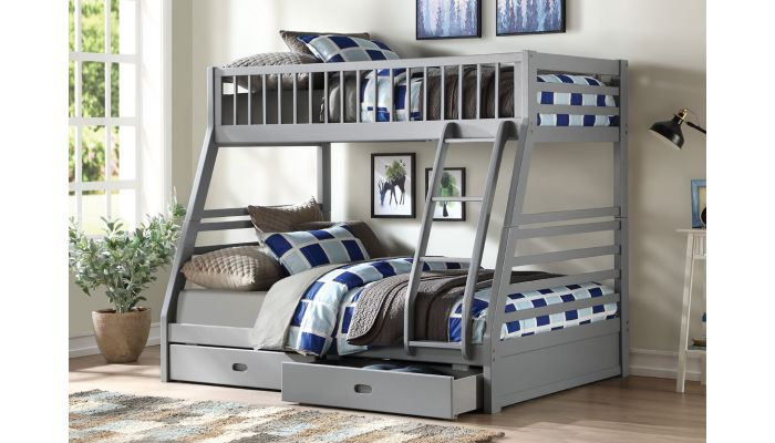 Patton Grey Finish Bunkbed With Drawers