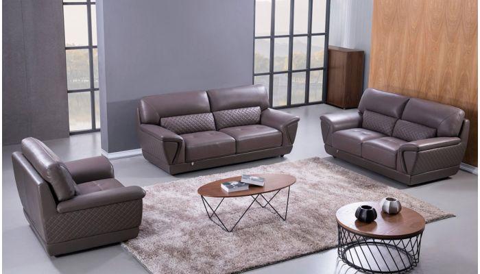 Jaylen Dark Tan Italian Leather Sofa Set