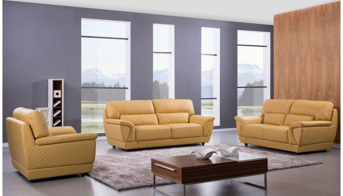 Jaylen Yellow Italian Leather Sofa Set