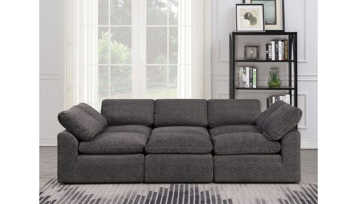 Jazz Modular Sectional Set Grey Chenille