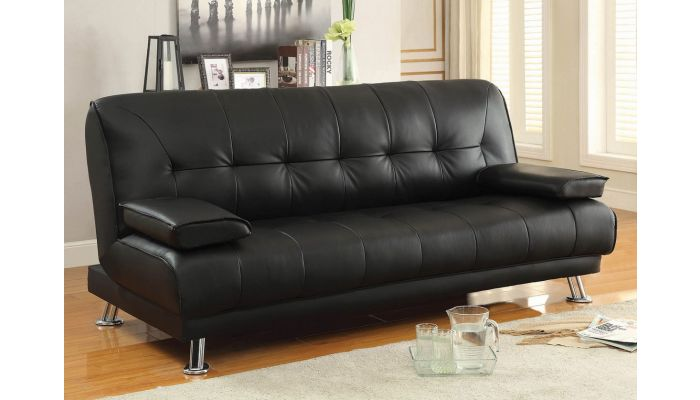 Jerico Black Leather Sofa Bed Futon