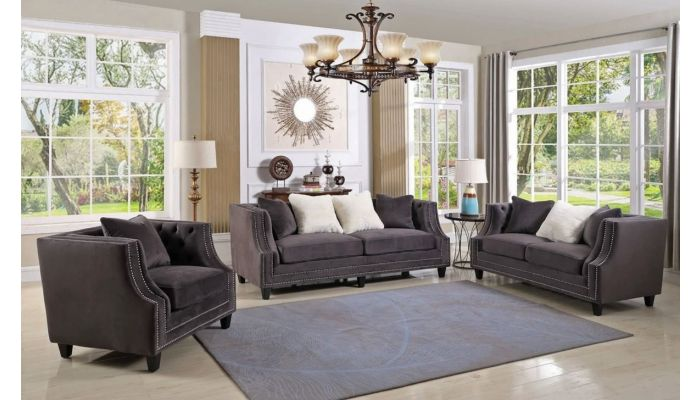Jonas Grey Velvet Sofa