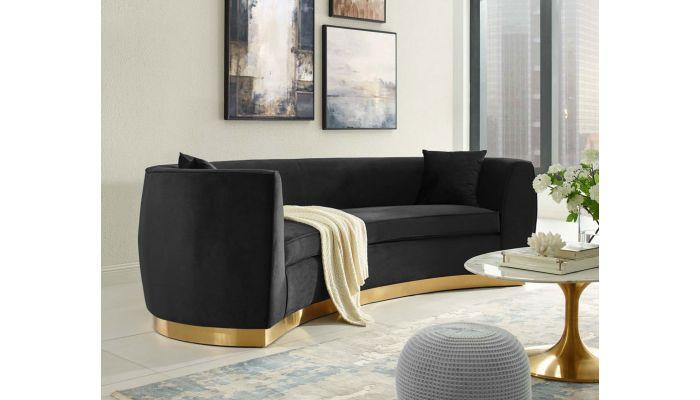 Black velvet modern sofa with gold finish base