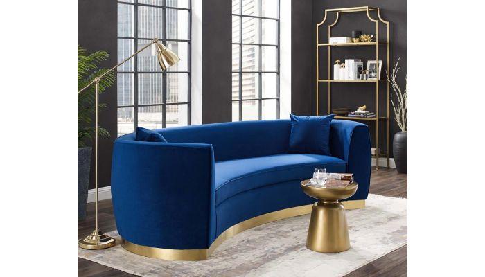 Antonsen Navy Velvet Sofa With Gold Finish Base