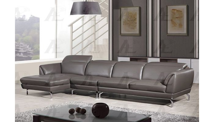 Justian Taupe Leather Modern Sectional