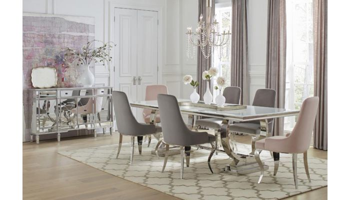 Kademore Oversized Glass Top Dining Table