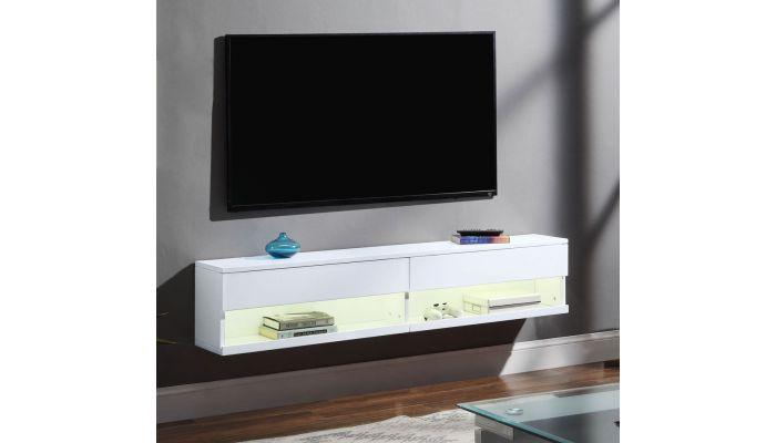 Kadia White Floating TV Stand With LED Light
