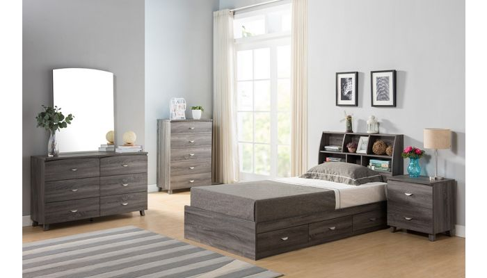 Kennedy Youth Storage Bed Rustic Gray Finish