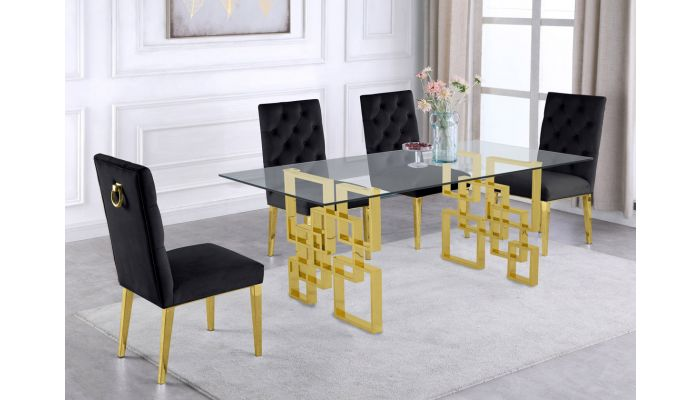 Kenza Glass Top Dining Table Gold Base, Gold Dining Room Sets