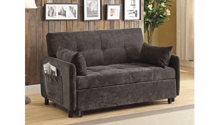 Kenzi Dark Brown Loveseat Sleeper
