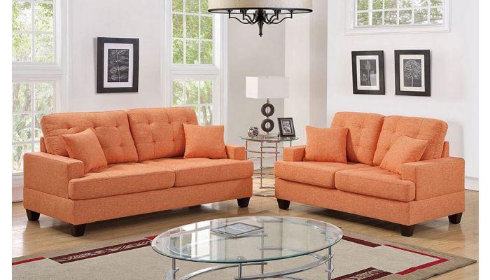 Kesson Orange Fabric 2-Piece Sofa Set