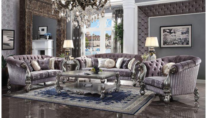 Kodie Tufted Platinum Velvet Sofa