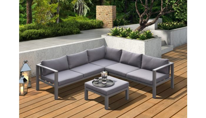 Koto Grey Outdoor Sectional With Ottoman