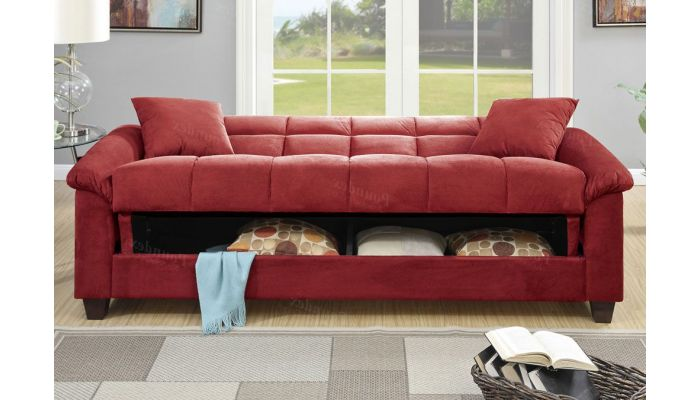 Kylie Red Microfiber Sofa Bed With Storage
