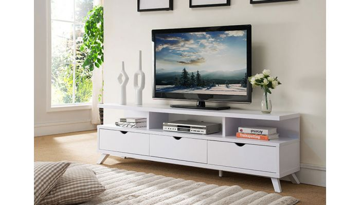 best website 1622b 4826a Lanie Modern White TV Stand