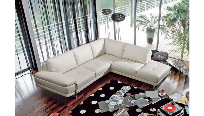 Lara White Leather Modern Sectional