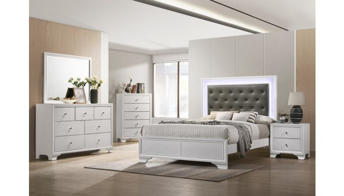 Larisa White Finish Bed With Lights