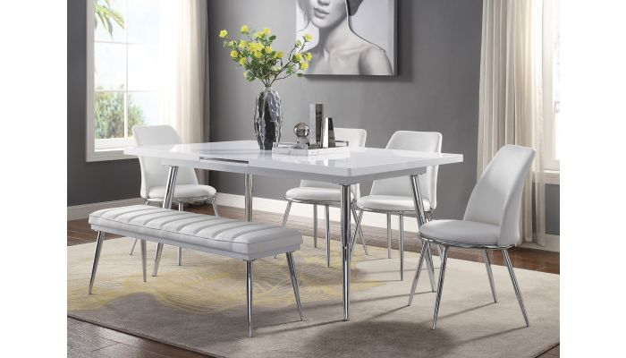 Larson Extendable Dining Table White, White Lacquer Dining Room Chairs