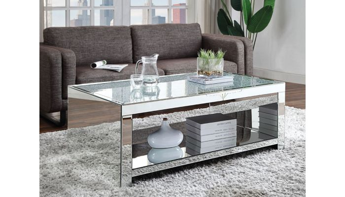 Lavern Mirrored Coffee Table,Lavern Mirrored End Table