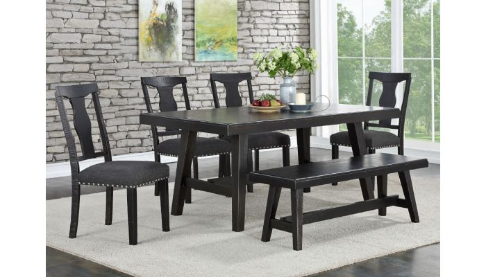 Lavon Dining Table Set Rustic Black Finish, Rustic Dining Room Furniture