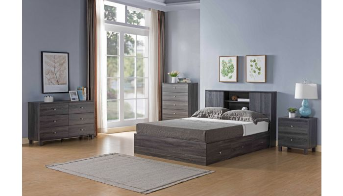 Lazer Rustic Grey Bed With Drawers