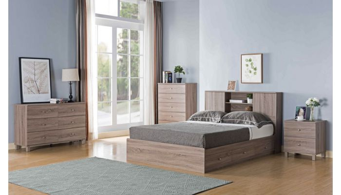 Lazer Rustic Taupe Storage Bed